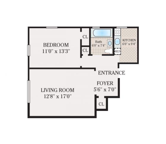 1 Bed 1 Bath. 560-761 sq. ft.