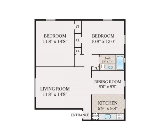 2 Bed 1 Bath. 729-806 sq. ft.